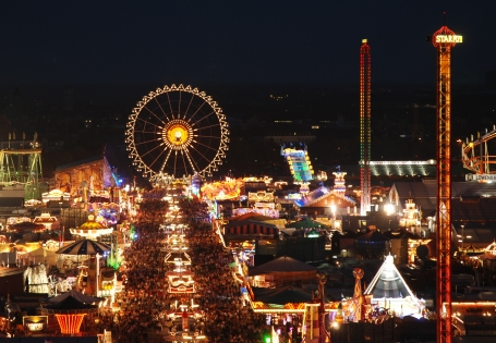 The Oktoberfest in Munich by night